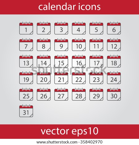 Calendar icon, vector eps10 illustration. Calendar Date.  Modern icons for your work: document, presentation, web and mobile applications, infographic,cover, poster, report, flyer. Number of month - stock vector