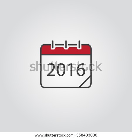 Calendar icon, vector eps10 illustration. Calendar Date.  Modern icons for your work: document, presentation, web and mobile applications, infographic,cover, poster, report, flyer, banner. 2016 - stock vector