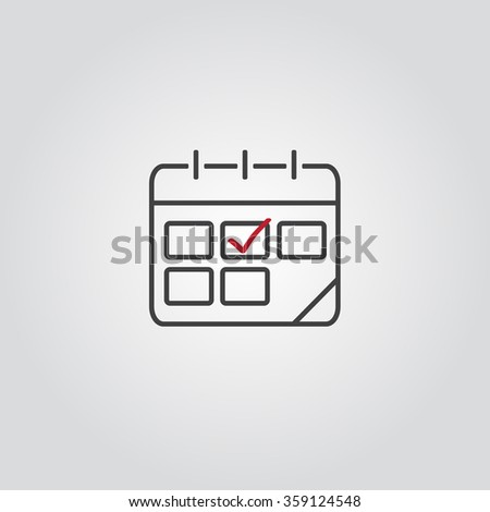 Calendar icon, vector eps10 illustration. Calendar Date.  Modern icons for your work: document, presentation,  infographic, cover, poster, report, flyer, banner. Check mark. Tick icon - stock vector