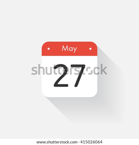 Calendar Icon with long shadow. Flat style. Date,day and month. Reminder. Vector illustration. Organizer application, app symbol. Ui. User interface sign. May. 27 - stock vector