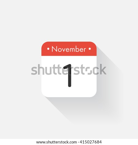 Calendar Icon with long shadow. Flat style. Date,day and month. Reminder. Vector illustration. Organizer application, app symbol. Ui. User interface sign. November. 1 - stock vector