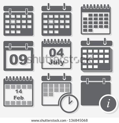 Calendar icons - stock vector
