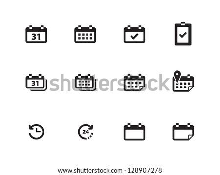 Calendar icons on white background. Vector illustration. - stock vector