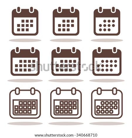 Calendar icons set. Calendar Icon, calendar icon vector,  calendar icon JPG, calendar icon JPEG, calendar icon EPS, calendar icon AI - stock vector