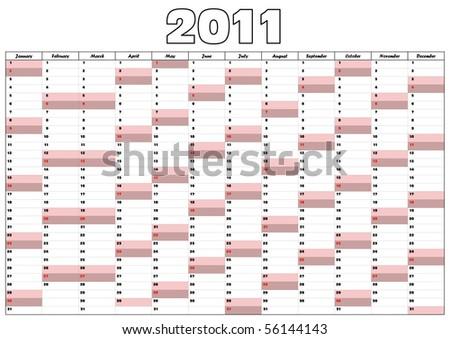 Calendar 2011 in English - stock vector