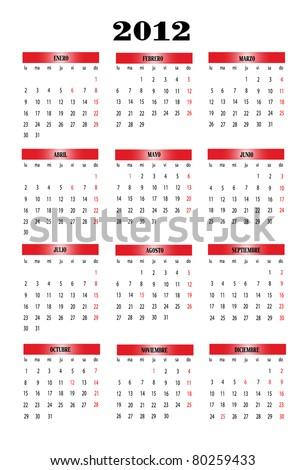 Calendar 2012 in Spanish - stock vector