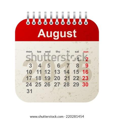 calendar 2015 in vintage style - august - stock vector