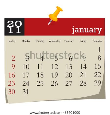 Calendar-january 2011 - stock vector