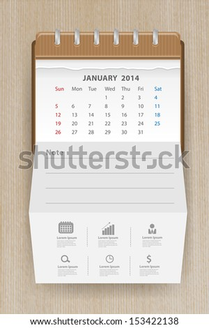 Calendar january 2014, Creative folded paper with business icon on wood texture background, workflow layout, diagram, step up options, web banner template, Vector illustration modern template design - stock vector