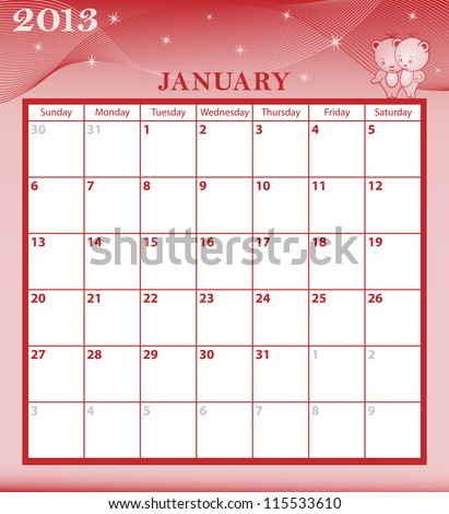 Calendar 2013 January  month with large date boxes. Cartoon characters and patterned background. January to December months available. Raster version also available.