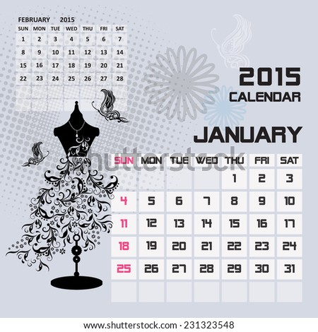 Calendar 2015 January vintage background fashion design  - stock vector