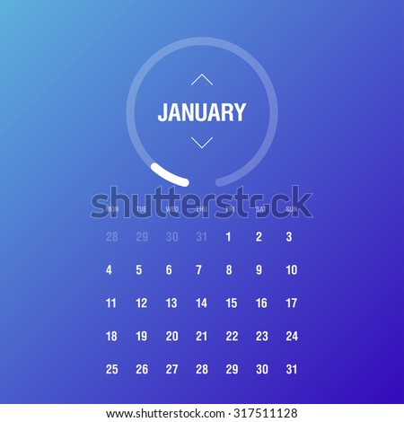 Calendar 2016. January. Week Starts Monday - stock vector