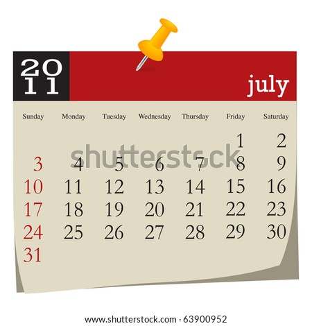 Calendar-july 2011 - stock vector