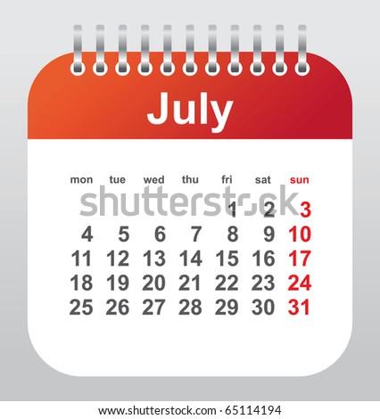 calendar 2011: july - stock vector