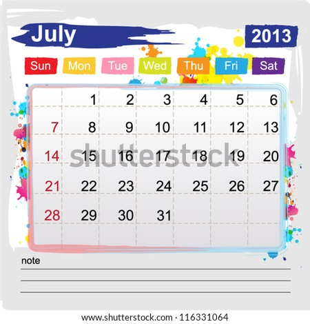 Calendar july 2013 , Abstract art style