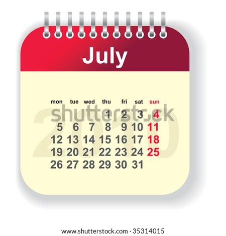 calendar - july (look for other month in my portfolio) - stock vector