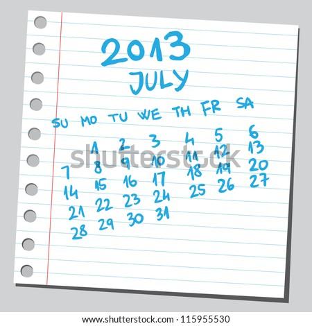 Calendar 2013 july (sketch style) - stock vector