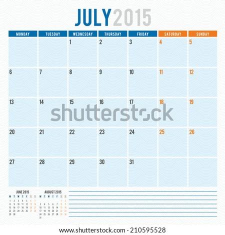 Calendar 2015 July vector design template - stock vector