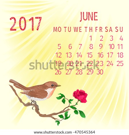 Calendar June 2017  bird  with flower rose vector illustration