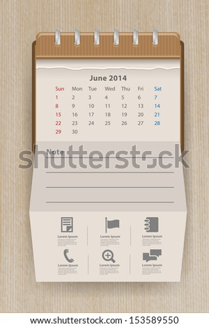 Calendar june 2014, Creative folded paper with business icon on wood texture background, workflow layout, diagram, step up options, web banner template, Vector illustration modern template design - stock vector