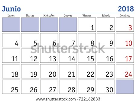 Calendar 2018 June Month Year 2018 Stock Photo (Photo, Vector ...