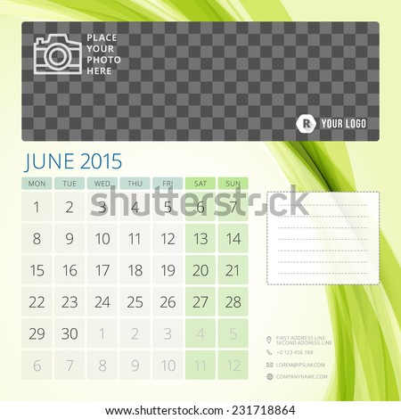 Calendar 2015 June template with place for photo. Week starts monday - stock vector