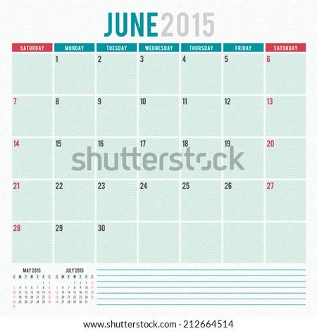 Calendar 2015 June US version vector design template - stock vector