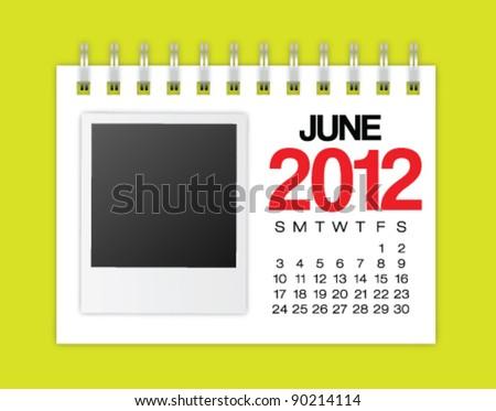 Calendar 2012 June Vector - stock vector