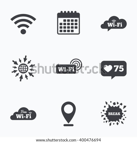 Calendar, like counter and go to web icons. Free Wifi Wireless Network cloud speech bubble icons. Wi-fi zone sign symbols. Location pointer. - stock vector
