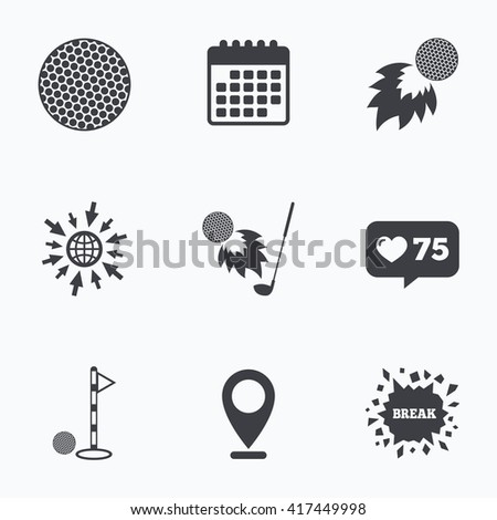 Calendar, like counter and go to web icons. Golf ball icons. Fireball with club sign. Luxury sport symbol. Location pointer. - stock vector