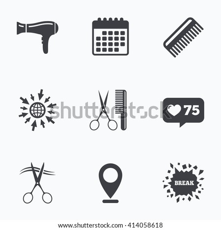 Calendar, like counter and go to web icons. Hairdresser icons. Scissors cut hair symbol. Comb hair with hairdryer sign. Location pointer. - stock vector