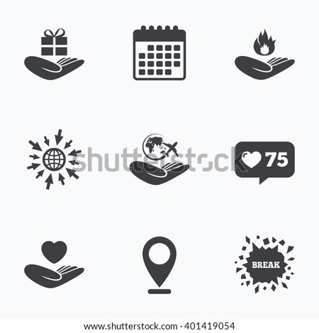 Calendar, like counter and go to web icons. Helping hands icons. Health and travel trip insurance symbols. Gift present box sign. Fire protection. Location pointer. - stock vector