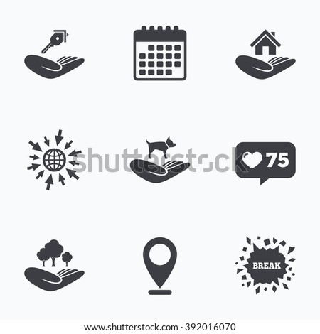 Calendar, like counter and go to web icons. Helping hands icons. Shelter for dogs symbol. Home house or real estate and key signs. Save nature forest. Location pointer. - stock vector