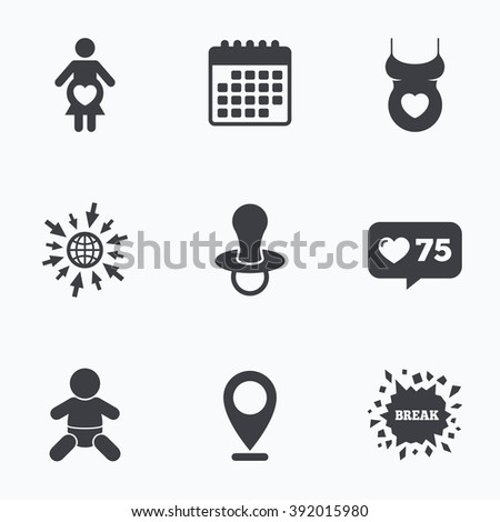 Calendar, like counter and go to web icons. Maternity icons. Baby infant, pregnancy and dummy signs. Child pacifier symbols. Shirt with heart. Location pointer. - stock vector