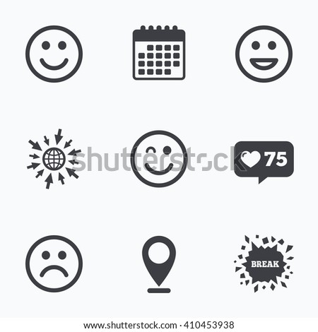 Calendar, like counter and go to web icons. Smile icons. Happy, sad and wink faces symbol. Laughing lol smiley signs. Location pointer. - stock vector