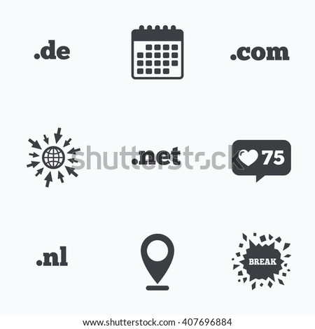 Calendar, like counter and go to web icons. Top-level internet domain icons. De, Com, Net and Nl symbols. Unique national DNS names. Location pointer. - stock vector