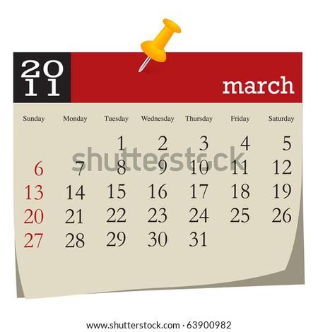 Calendar-march 2011 - stock vector