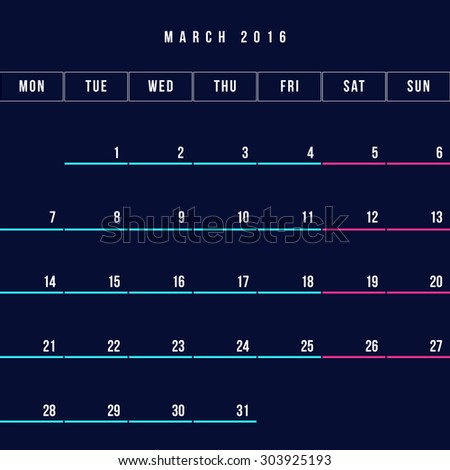 Calendar March 2016 vector design template - Minimalism Style