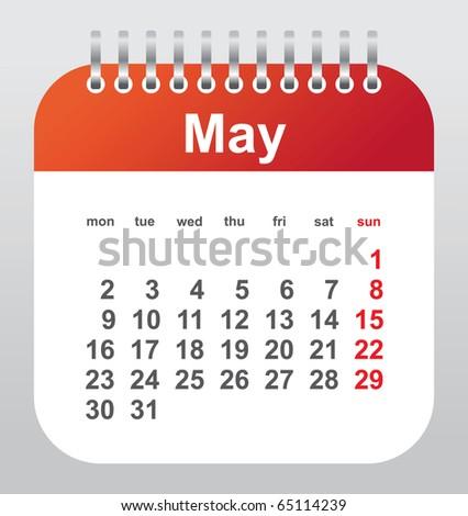 calendar 2011: may - stock vector