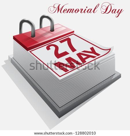 Calendar 27 May Memorial Day. Vector. - stock vector
