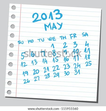 Calendar 2013 may (sketch style) - stock vector