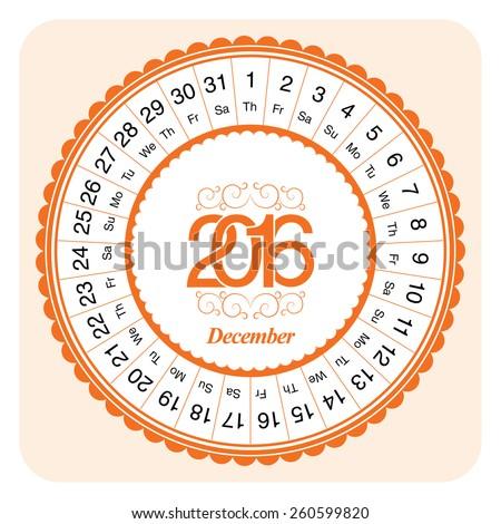 Calendar month December 2016, designed as circular - stock vector