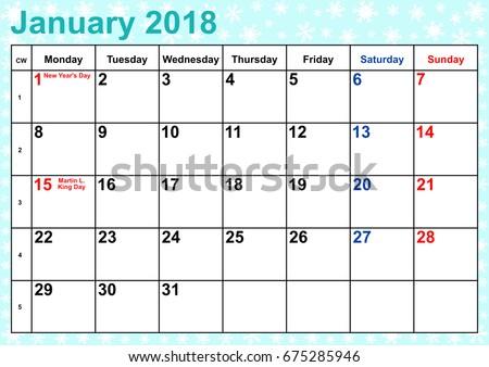 Calendar 2018 Month January Public Holidays Stock Vector 675285946 ...