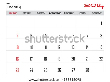 Calendar month of february 2014 in English - stock vector
