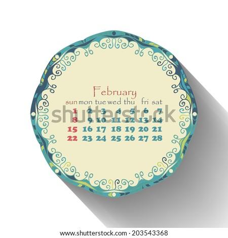 Calendar month of February 2015 in English. Arabic, ethnic ...