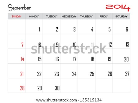 Calendar month of september 2014 in English - stock vector