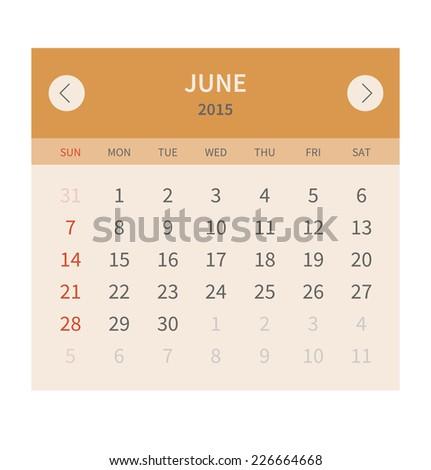 Calendar monthly june 2015 in flat design. Vector illustration - stock vector