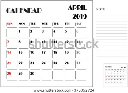 calendar monthly plan, paper design, week starts with Sunday, April 2019