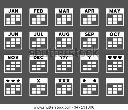 Calendar Months vector icon. Style is bicolor flat symbols, black and white colors, rounded angles, gray background. - stock vector