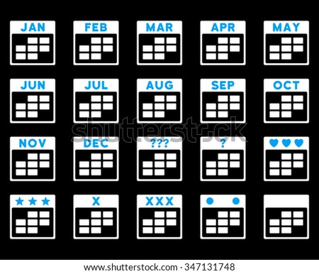 Calendar Months vector icon. Style is bicolor flat symbols, blue and white colors, rounded angles, black background. - stock vector